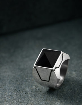 Z Axis Onyx Pyramid Ring Sterling Silver