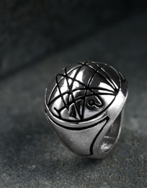 Intenebris by JS Sigil of the Gate Necronomicon Sterling Silver Cthulhu high polish ring