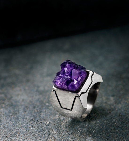 Intenebris by JS Z Axis Amethyst Ring Sterling Silver matrix