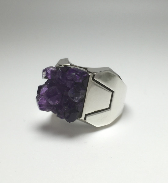 Z Axis Amethyst Ring Silver 2