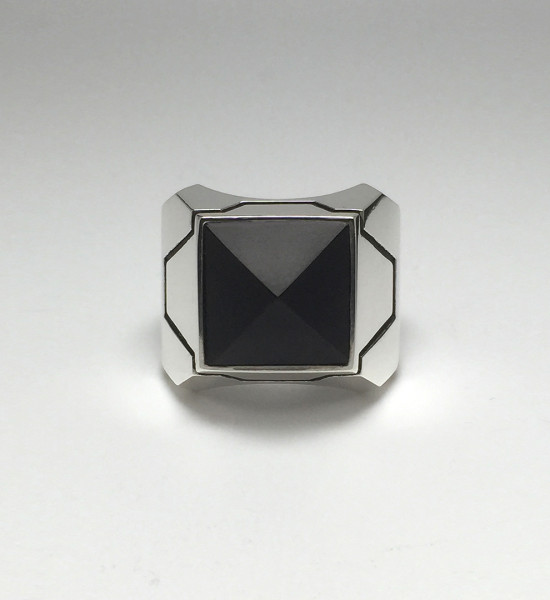 Z Axis Matte Onyx Pyramid Ring Silver 1