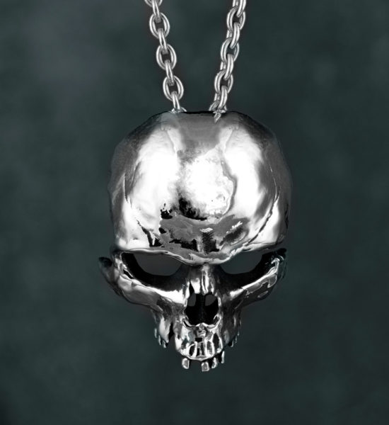 Intenebris by JS Large Fractured Skull Pendant and Necklace in sterling silver