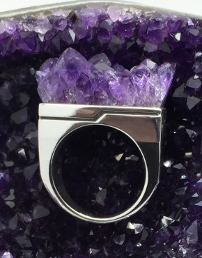 Aphotic Amethyst Matrix Ring X Axis