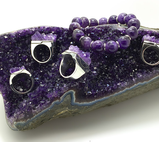 Aphotic Amethyst Matrix Rings and Amethyst Bead Bracelet with Sterling Silver Jumprings