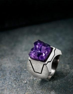 Intenebris by JS Z Axis Amethyst Ring Sterling Silver matrix