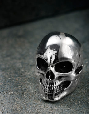 Intenebris Oversize Evil Eye Skull Ring with Satin Scar in sterling silver