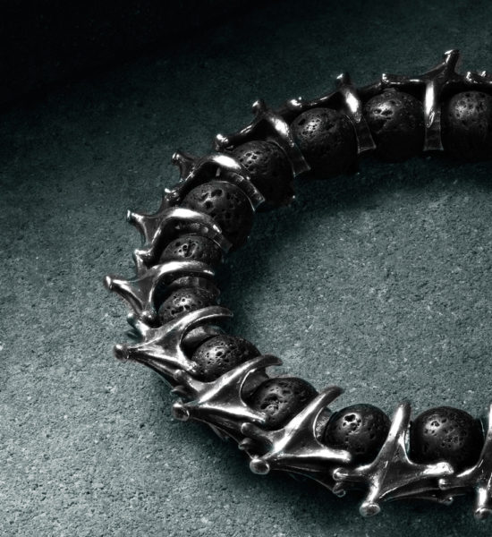 Intenebris Underling Vertebrae Bracelet in sterling silver with lava beads
