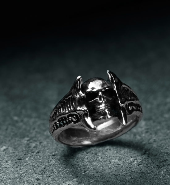 Intenebris biomechanical Sterling Silver Chasm Skull Ring