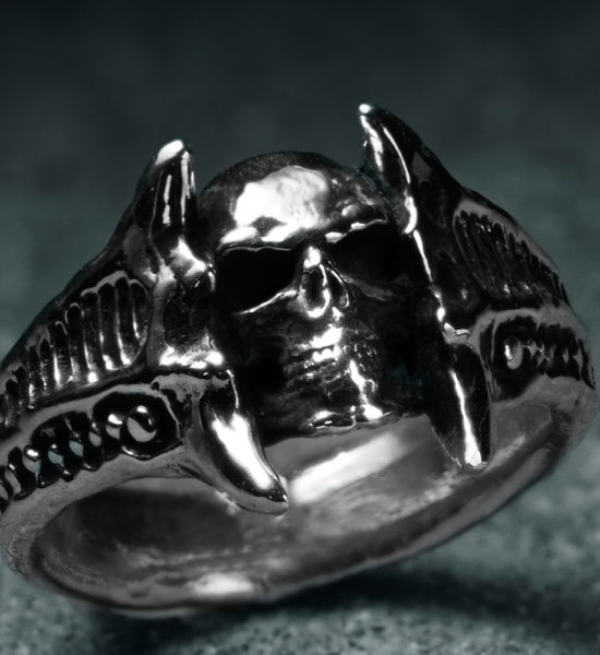 Intenebris biomechanical Sterling Silver Chasm Skull Ring