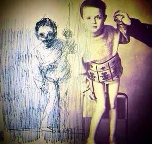 Stanislav as a child (circa 1990) alongside self portrait