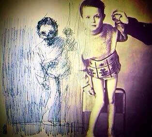 Stanislav as a child (circa 1990) alongside self portrait