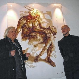 "Vincent & Giger at ""Remedy for the Living"" Solo show  Photo: Alf Battig"