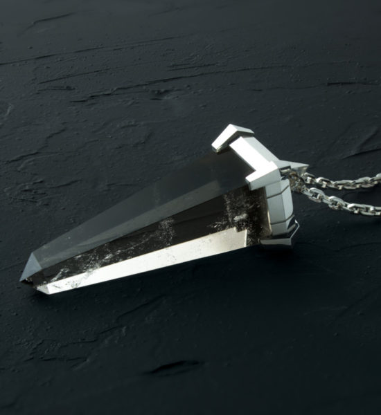 Intenebris Monolith Spike necklace in Smoky Quartz and 925 Sterling Silver