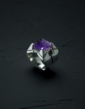 Intenebris Z-Axis 2.0 Amethyst Matrix Ring in high polish sterling silver