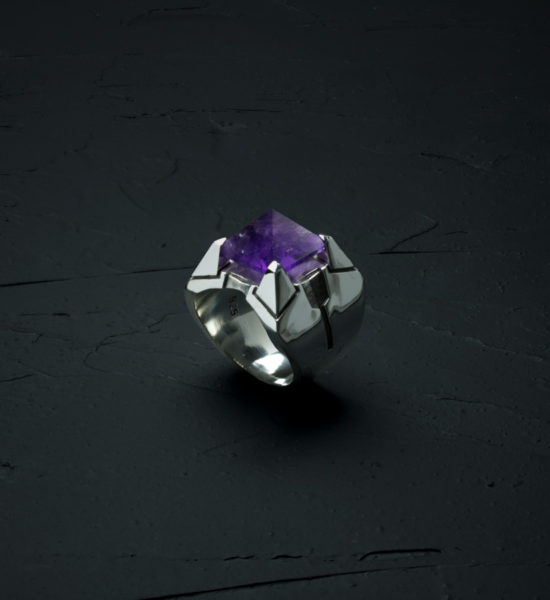 Intenebris Z-Axis 2.0 Amethyst Matrix Ring in high polish sterling silver
