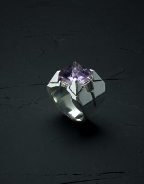 Intenebris Z-Axis 2.0 Light Amethyst Matrix Ring in high polish sterling silver