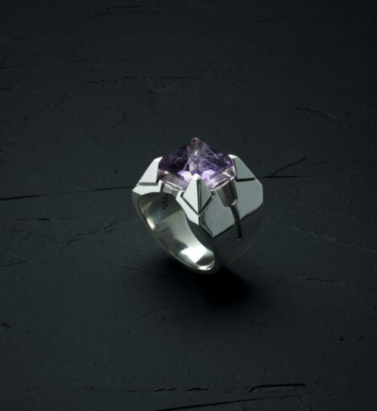 Intenebris Z-Axis 2.0 Light Amethyst Matrix Ring in high polish sterling silver