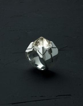 Intenebris Z-Axis 2.0 Smoky Quartz Matrix Ring in high polish sterling silver