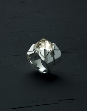 Intenebris Z-Axis 2.0 Smoky Quartz Matrix Ring in high polish sterling silver