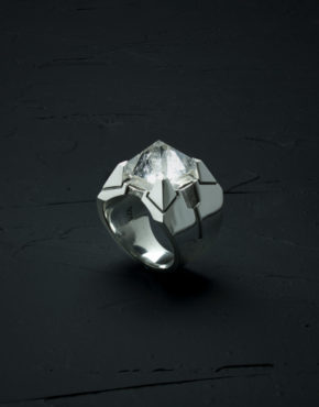 Intenebris Z-Axis 2.0 Quartz Matrix Ring in high polish sterling silver
