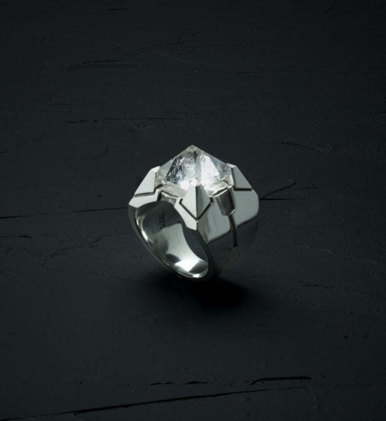 Intenebris Z-Axis 2.0 Quartz Matrix Ring in high polish sterling silver